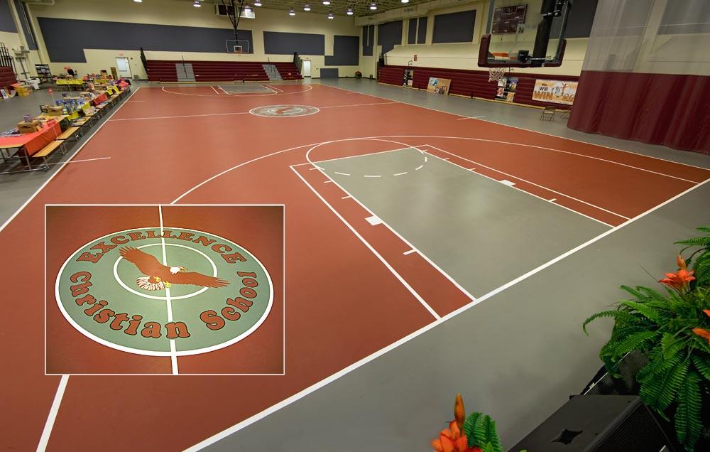 Multi purpose gym flooring gurus floor for Residential basketball court cost